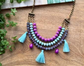 Layered Necklace Tassel Necklace Boho Necklace Fringe Necklace Multistrand Necklace Purple & Turquoise Necklace Boho Chic Delicate Necklace