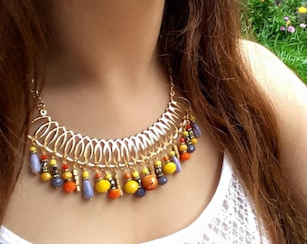Bib Necklace Boho Short Necklace Boho Jewelry Boho Chic Crystal Necklace Hippie Necklace Colorful Necklace Statement Necklace Gift for Her