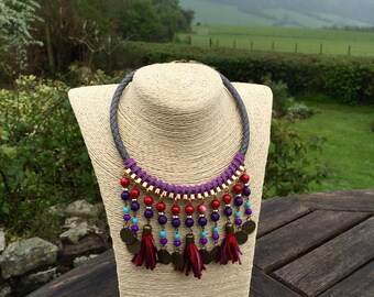 BOHO red purple tassel necklace, bohemian, coins necklace, boho, hippie, colourful, short necklace, tassels