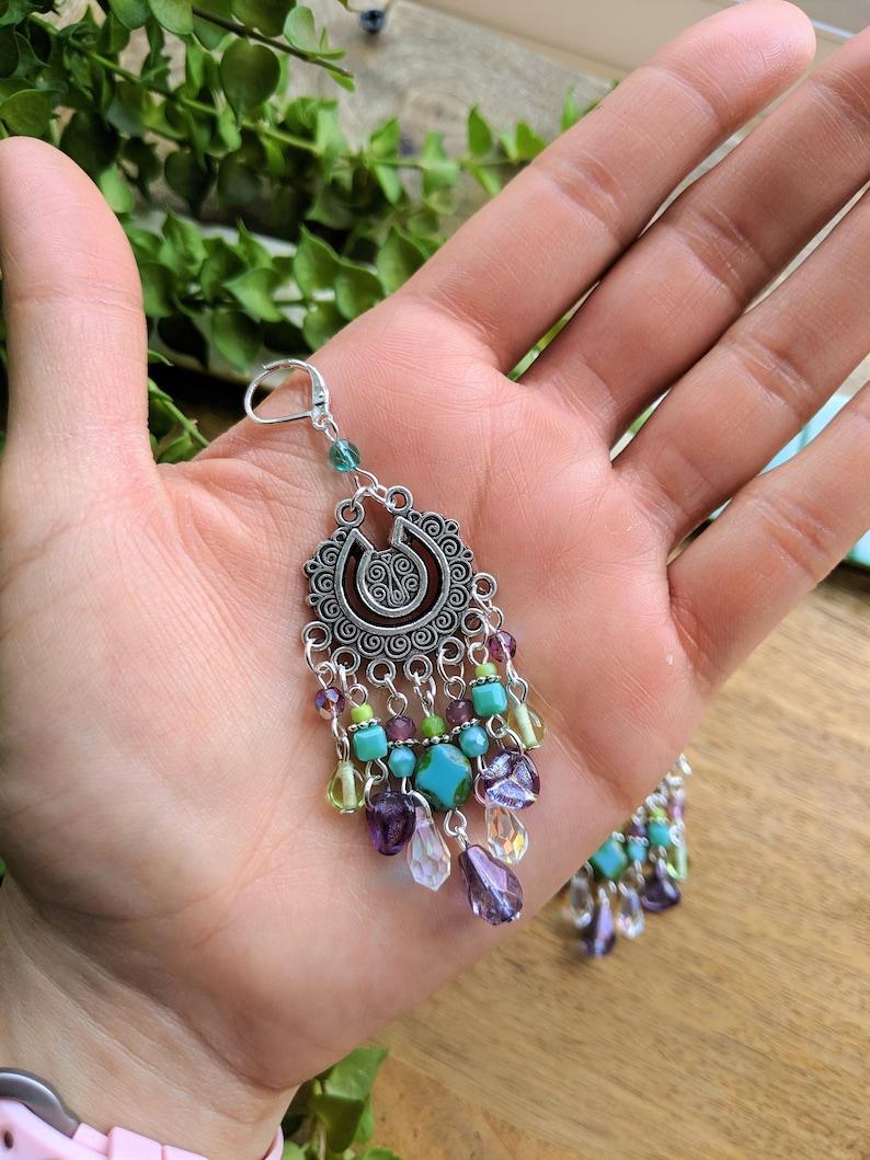 Turquoise /& Green Boho Earrings Hippie Long Earrings Gypsy Chandelier Earrings Bohemian Jewelry Boho Artisan Long Earrings Boho Gift for her