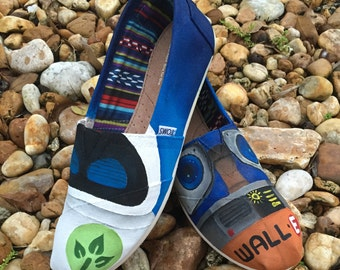 c316332e07a KIDS Hand Painted Wall-E inspired canvas shoes- made to order!