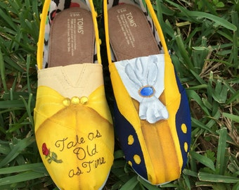 871fa4f07f7 Hand Painted Beauty and the Beast inspired canvas shoes- made to order!-  TOMS or VANS