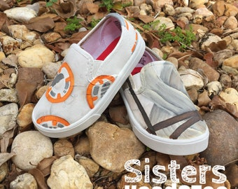 26550714dbd KIDS Hand Painted Rey and BB8 inspired canvas shoes- made to order!- Vans