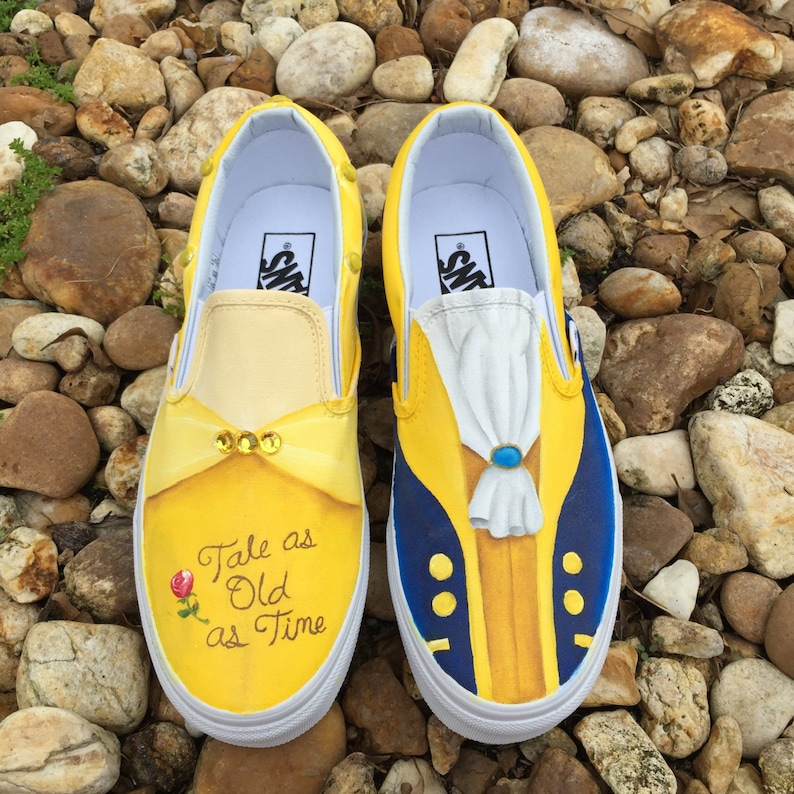 ed085358c03 KIDS Hand Painted Beauty and the Beast inspired canvas shoes