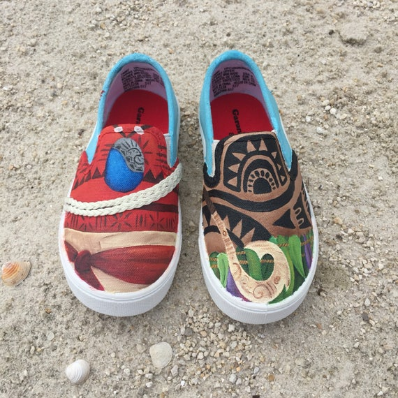 6f3d1f5fc04b8 KIDS Hand paint Moana inspired canvas shoes- made to order!- Vans