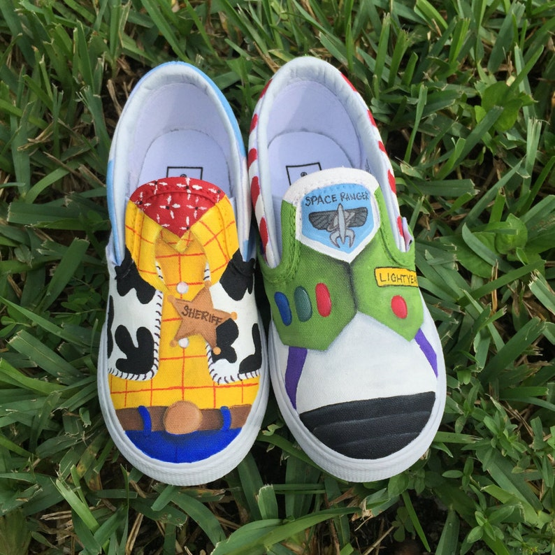 958a8a23b78ba KIDS Hand Painted Toy Story inspired canvas shoes- made to order!- Vans
