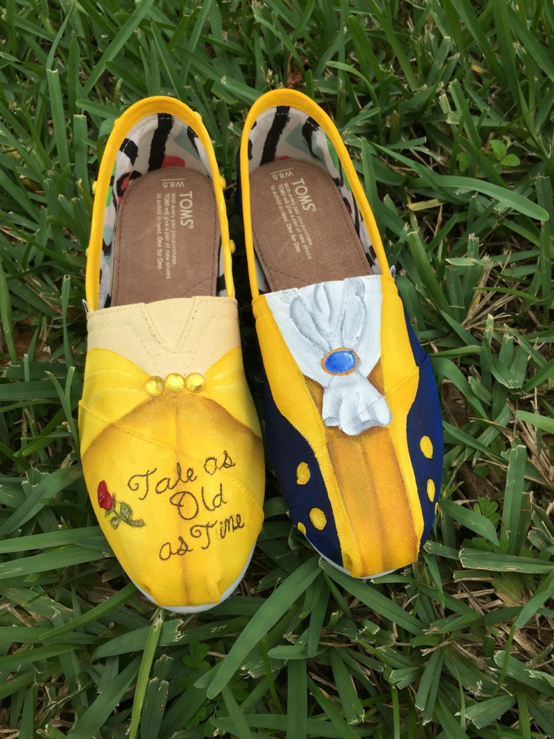 2ab0631147640 Hand Painted Beauty and the Beast inspired canvas shoes- made to order!-  TOMS or VANS
