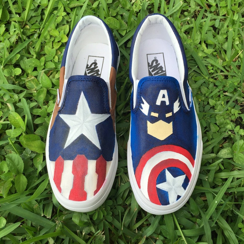 b72e53bc64b10 Adult Hand Painted Captain America inspired canvas shoes- made to order!-  VANS