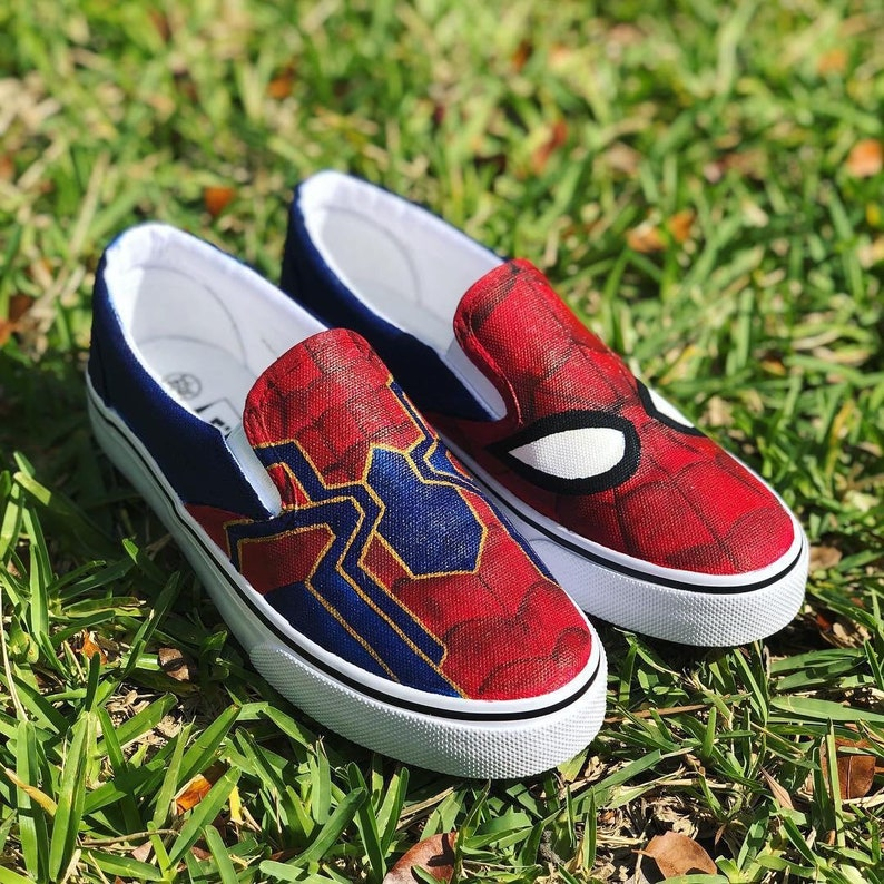 586ba592a51be KIDS Hand Painted Spider-Man inspired canvas shoes- made to order!- Vans