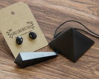 Shungite stud earrings SET EMF protection stone, Chakra Energy Pendulum Pendant Shungit healing, crystal, Christmas Sale S137