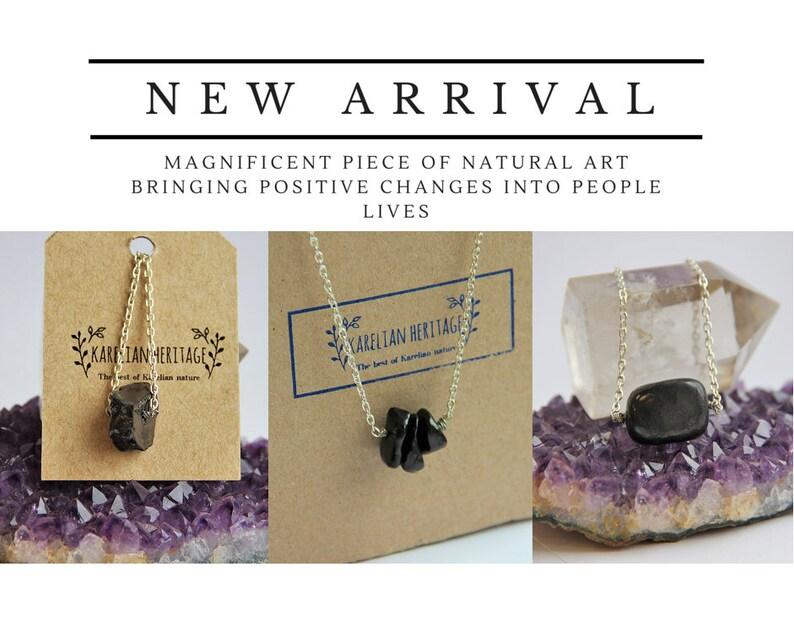 Shungite Necklace for EMF Protection // Tumbled Shungit Beaded Necklace //  Chakra Balancing Pendant Minimalist Jewelry Karelian Heritage