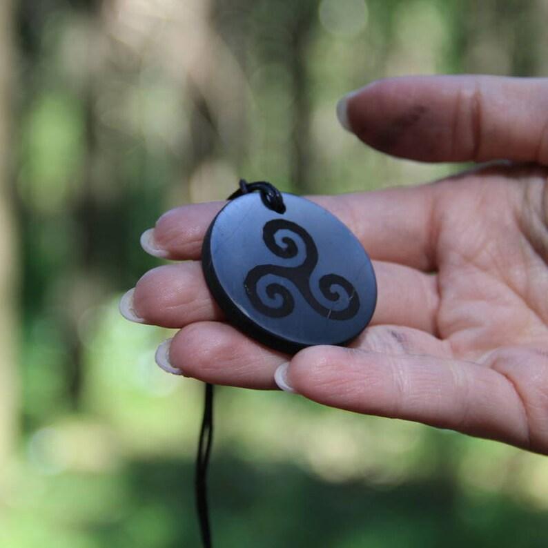 Shungite Pendant Triskelion Engraving // EMF Protection Polished Authentic  Shungite Stone // Root Chakra Balancing Jewelry Karelian Heritage