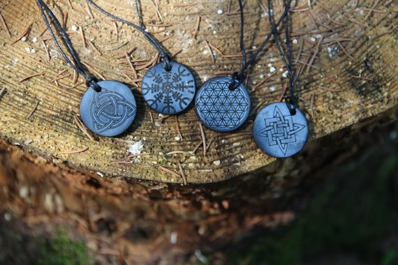 Circle Shungite Pendant with Engraving Different Styles  Schungit for EMF Protection  Energy Root Chakra Pendant  Karelian Heritage
