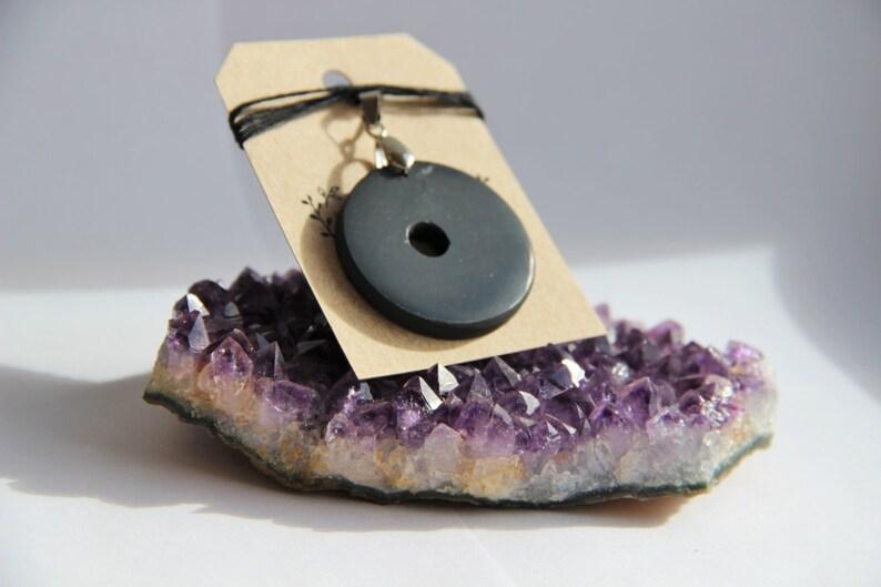 Shungite Pendant Hoop for EMF Protection // Natural Shungit for Chakra  Healing and Balancing // Black Crystal Jewelry Karelian Heritage PE10