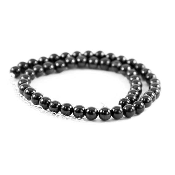 Regular Shungite Necklace Beads Black Gemstones Beads for EMF Protection