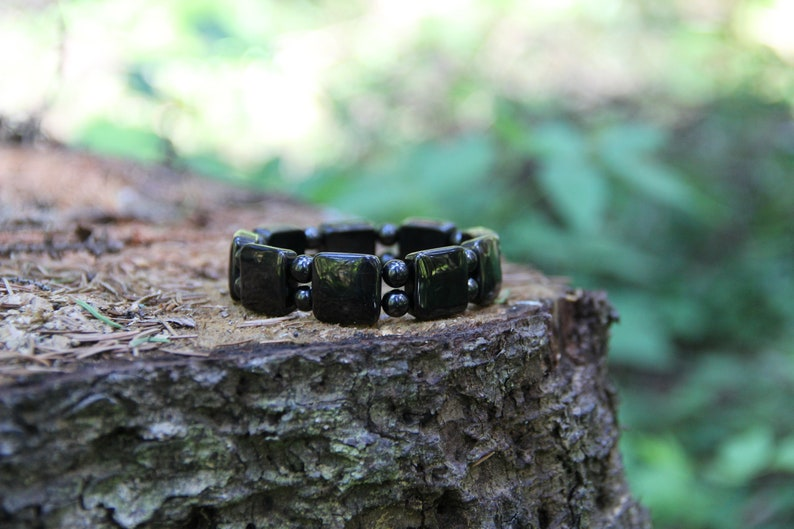 Petrovsky Shungite Bracelet with Square and Round Beads // Shungite Stone  Crystal Jewelry // EMF Protection Bracelet Karelian Heritage PT05