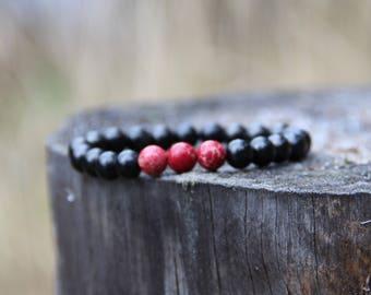 Shungite bracelet and red jasper crystal energy 8 mm beads, root chakra healing, boho jewelry BO39