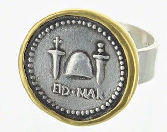 cd49458dbd2 Brutus EID MAR Coin Sterling Silver Ring with 22 k gold Bezel