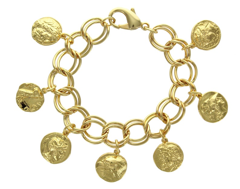 7eb23085a94 Miniature Ancient Greek Gold Coin Charm Bracelet