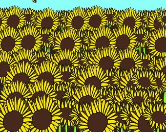 Sunflower greeting card, any occasion, blank card