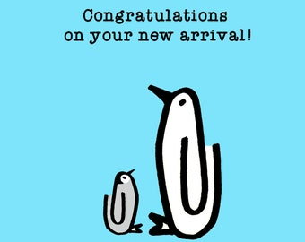 Congratulations - Baby Blue, New arrival, Penguin, Baby