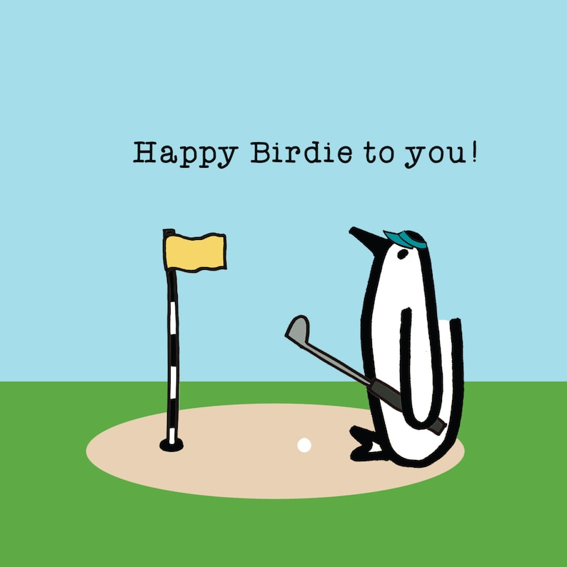 Happy Birdie Penguin Birthday Golf Etsyrhetsy Cartoon At Carts