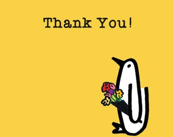 Thank You, thanks, flowers, penguin, thank you card
