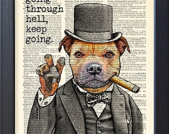Staffordshire bull terrier poster, Churchill inspirational quote, dog in top hat print, dictionary page, funny gift art, dorm wall decor