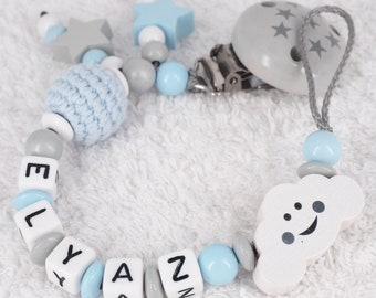 Pacifier necklace named baby boy baby gift birth baptism
