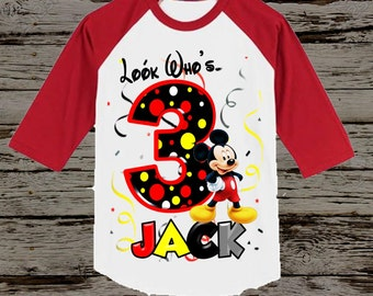 Mickey Mouse Birthday Shirt - Red Raglan Available