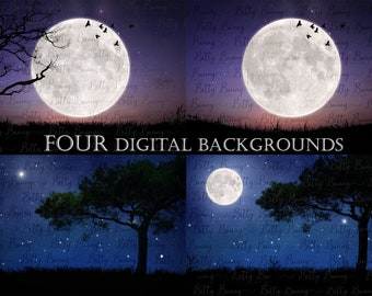 4 Silhouette Backgrounds - Full moon, night silhouette