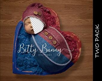 2 pk Newborn Digital Insert face Wood Heart Bowl Prop - Backdrop Composite - boy girl Heart bowl digital