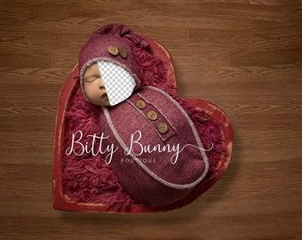 Newborn Digital Insert face Wood Heart Bowl Prop - Backdrop Composite - Heart bowl digital
