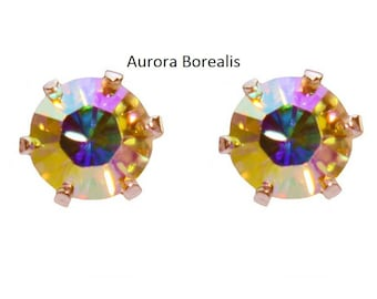 Various Warm Colours - Sterling Silver crystal stud earrings handmade with Swarovski® Elements