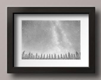 Night Sky Drawing Print - Starry Night Art - Night Sky Art - Sky Art - Sky Wall Art - Star Drawings - Aurora Borealis Art - Camping Art