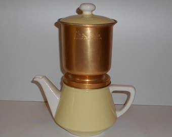 Vintage Cafetiere Vileroy and Boch, Salam Filter, 1950's, French Coffeemaker, ceramic and metal, deco,  country home.