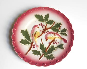 Antique French Majolica plate Birds & Berries, PEXONNE, C.1890