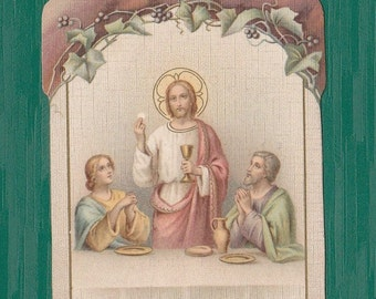 Antique French HOLY Card First Communion, JESUS, Dated 1911, Religious