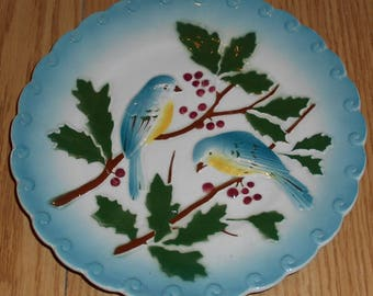 Antique Majolica plate Birds & Berries, PEXONNE  Marked
