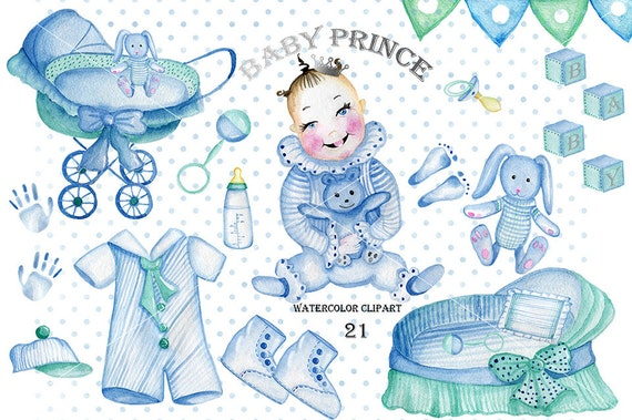 3bd59f0f8ae8 Watercolor baby boy clipart vintage style baby shower