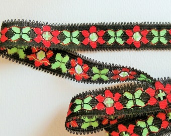 G21 stripe - Black, red and green floral stripe