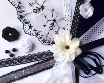 Box black and white - ribbons, trims, lace, pearls...