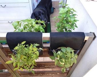 Railing planter / Gardening gift / Fence garden planter / Herb planter / Balcony planter / Herb garden / Planter / plain, various tones