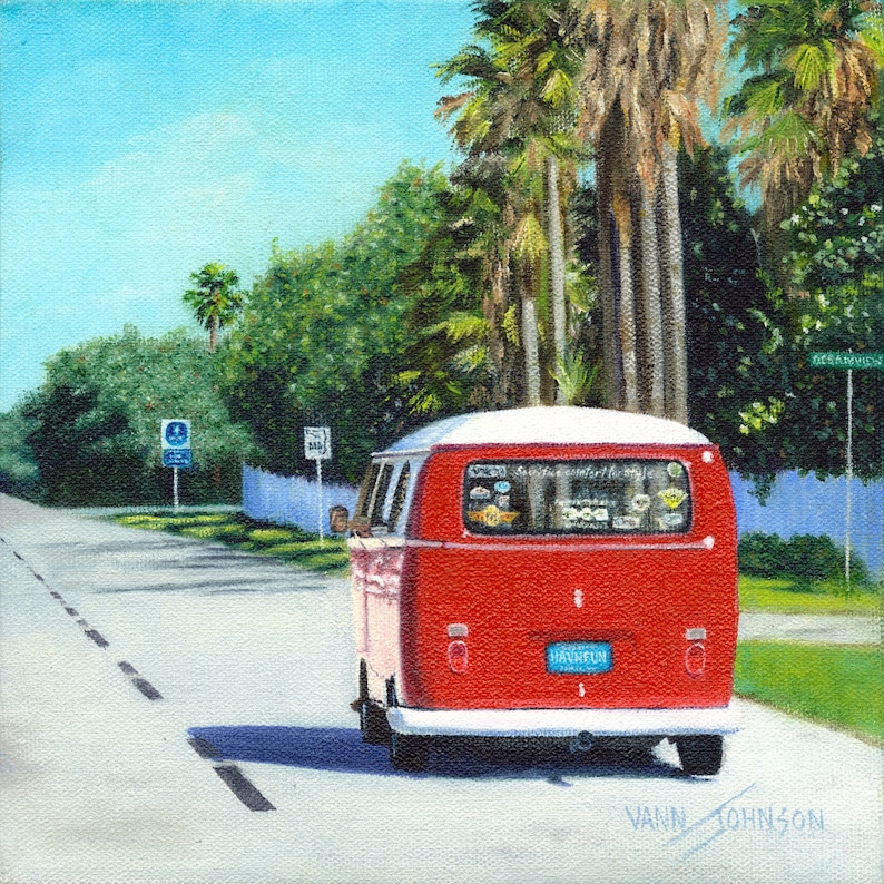 VW  Bus Red Volkswagen Bus with Palm Trees Canvas Print image 0