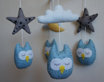 Blue owls mobile star white cloud gray and Yellow Moon baby