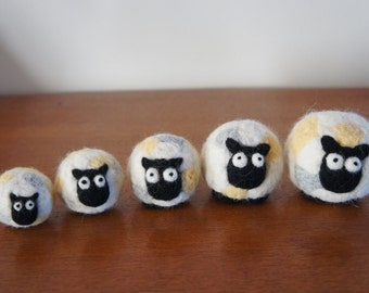 5 sheep needle felted wool