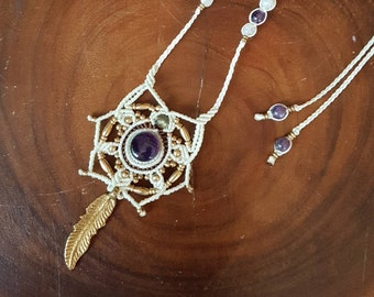 Magical Fluorite macrame necklace with brass feather