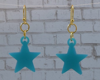 Teal Star Earrings with Gold Plated Findings