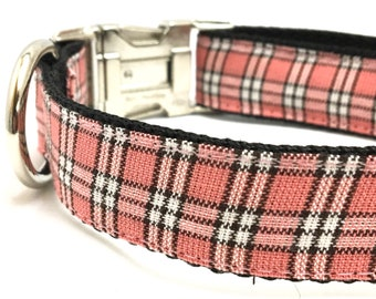 Pink Plaid Dog Collar, Harness or Leash with Personalized Engraved Buckle Option