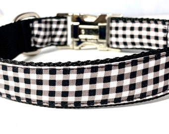 Black and White Buffalo Plaid Dog Collar, Harness or Leash with Personalized Metal Buckle Option